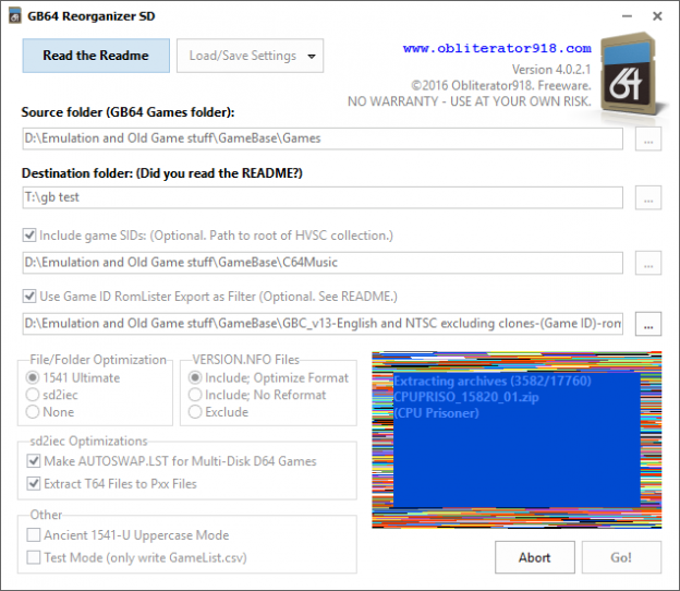 GameBase 64 Reorganizer 4.0.2.1 extracting archives.